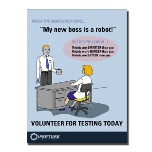 Portal 2 'My New Boss Is A Robot' A4 Canvas Print Wall Art